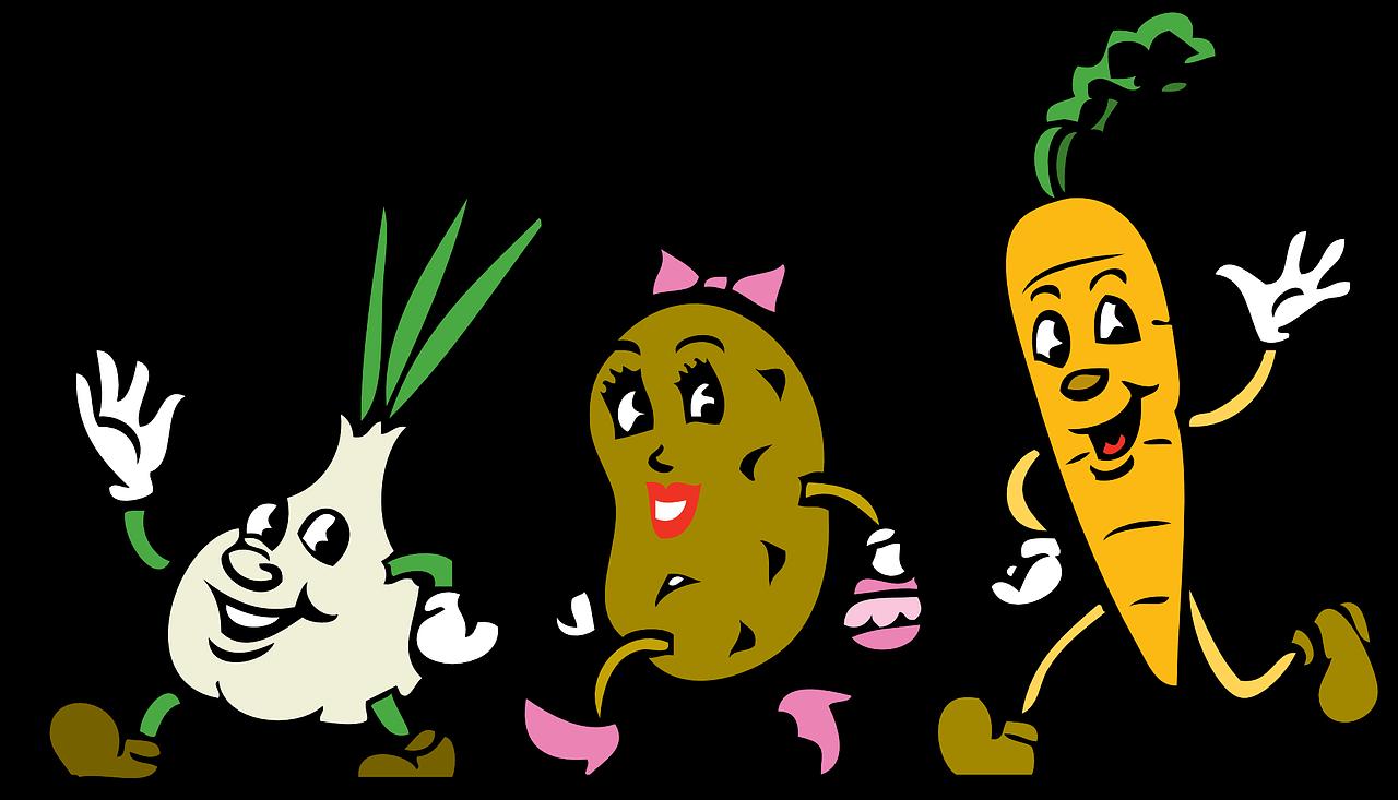 vegetables, cartoon, root vegetables